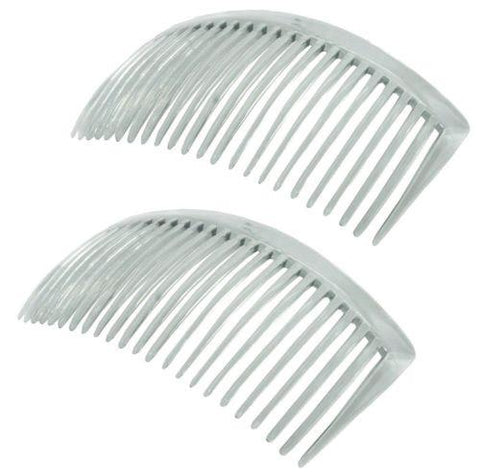 Parcelona French Large Clear 23 Teeth Hair Side Combs 4.5 Inch 2 pcs-PARCELONA-ebuyfashion.com