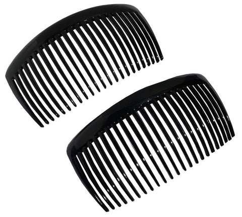 Parcelona French Large Glossy Black 23 Teeth Hair Side Combs 4.5 Inch-Parcelona-ebuyfashion.com