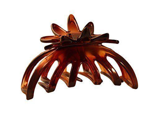 Parcelona French Medium Flower Flat Teeth Celluloid Shell Claw Jaw Hair Clip-PARCELONA-ebuyfashion.com