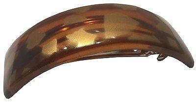Parcelona French Medium Golden Touch Curved Shell Celluloid Hair Clip Barrette-Parcelona-ebuyfashion.com