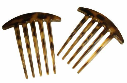 Parcelona French Medium Interlocking Light Tortoise Shell Side Hair Comb 2 pcs-PARCELONA-ebuyfashion.com