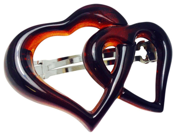 Parcelona French Medium Twin Heart Strong Grip Celluloid Tortoise Barrette-Parcelona-ebuyfashion.com
