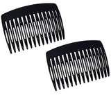 Parcelona French Nice N Simple Black 2 Pieces Cellulose Side Hair Comb Combs-PARCELONA-ebuyfashion.com