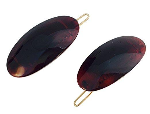 Parcelona French Oval Shell Brown Small Snap on Hair Pin Barrette Clip 2 Pcs-PARCELONA-ebuyfashion.com