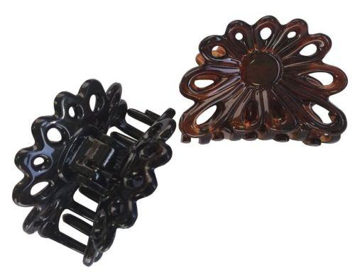 Parcelona French Plume Small Shell & Black Set of 2 Jaw Hair Claw Clip 2 Inch-PARCELONA-ebuyfashion.com