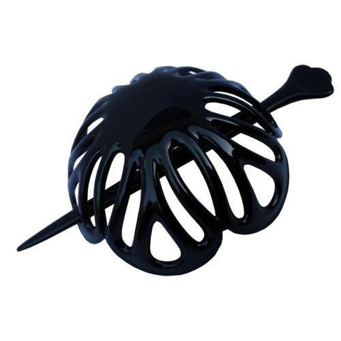 Parcelona French Radial Medium Black Celluloid Hair Slider Bun Cover with Stick-Parcelona-ebuyfashion.com
