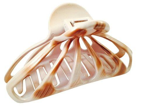 Parcelona French Rain Drop Large Ivory Beige Celluloid Jaw Hair Claw Clip Clamp-PARCELONA-ebuyfashion.com