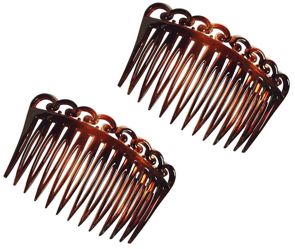 Parcelona French Set of 2 Medium Swirl Open Curved Shell Side Hair Combs-PARCELONA-ebuyfashion.com