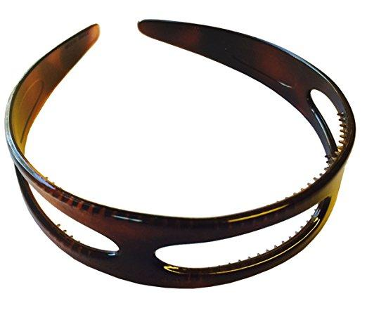 Parcelona French Tricut Wide Tortoise Shell Brown Celluloid Acetate Headband-PARCELONA-ebuyfashion.com