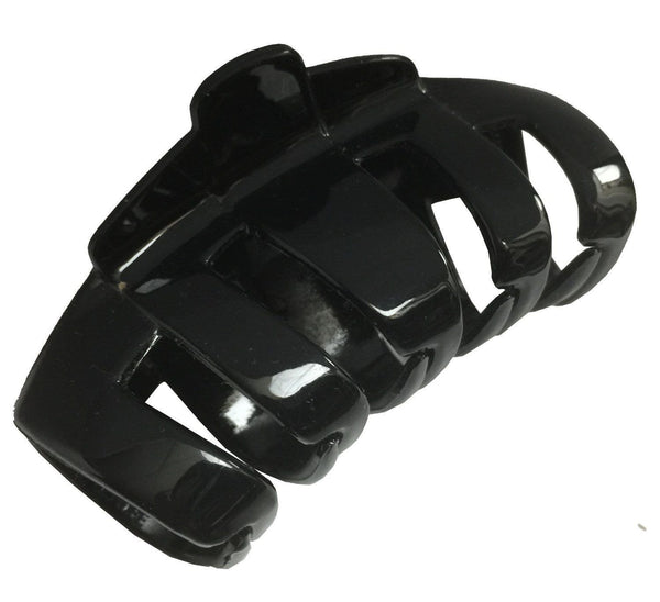 Parcelona French Tubular Black Large Covered Spring Jaw Hair Claw Clip Clutcher-Parcelona-ebuyfashion.com