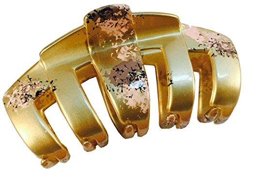 Parcelona French Tubular Golden Pink Grey Splash Hand Painted Jaw Hair Claw Clip-PARCELONA-ebuyfashion.com