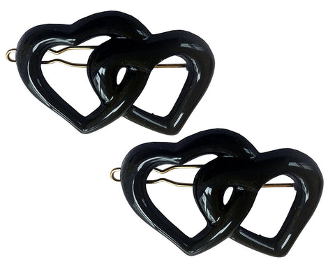 Parcelona French Twin Heart Black Small Celluloid Snap Pin Hair Barrette (2 pcs)-PARCELONA-ebuyfashion.com