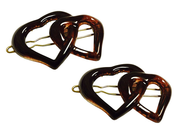 Parcelona French Twin Heart Shell Small Celluloid Snap Pin Hair Barrette - 2 Pcs-PARCELONA-ebuyfashion.com