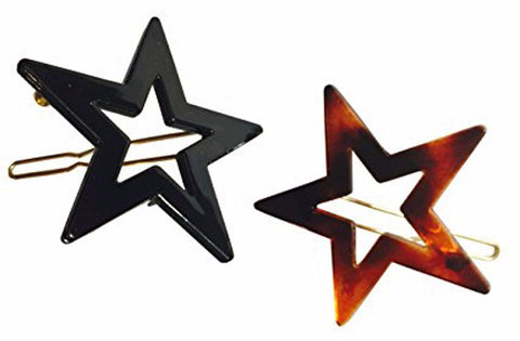 Parcelona French Twin Star Set of 2 Brown Shell N Black Celluloid Snap Hair Pins-PARCELONA-ebuyfashion.com