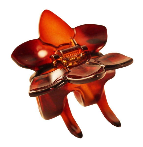 Parcelona French Clove Flower 4 Teeth Tortoise Shell Pony Holder Hair Claw