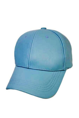 Vegan Leather Aquamarine Cap