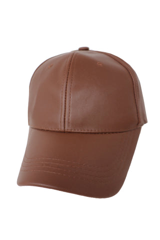 Vegan Leather Light Brown Cap