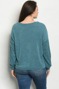Teal Button Button Sweater