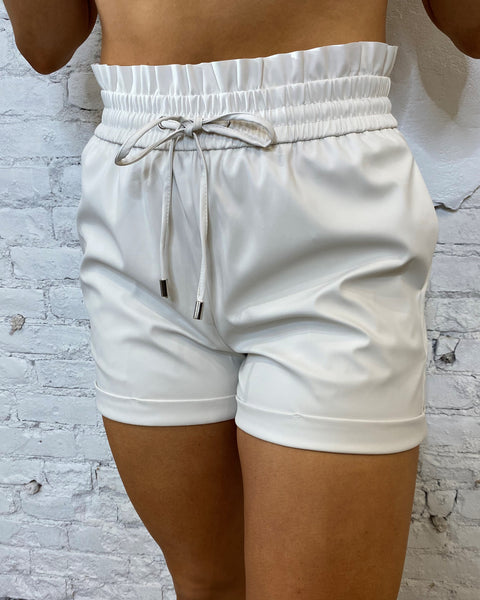 Leather Drawstring Shorts - Bone