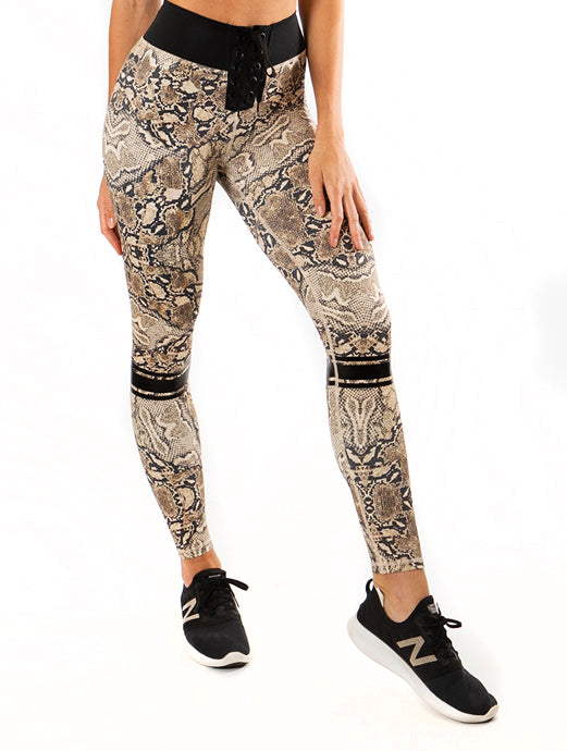 Miss Touchdown Tights -Snakeskin Print