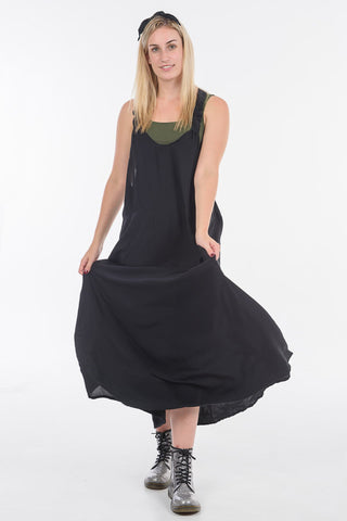 Black Moggie Overall Dress