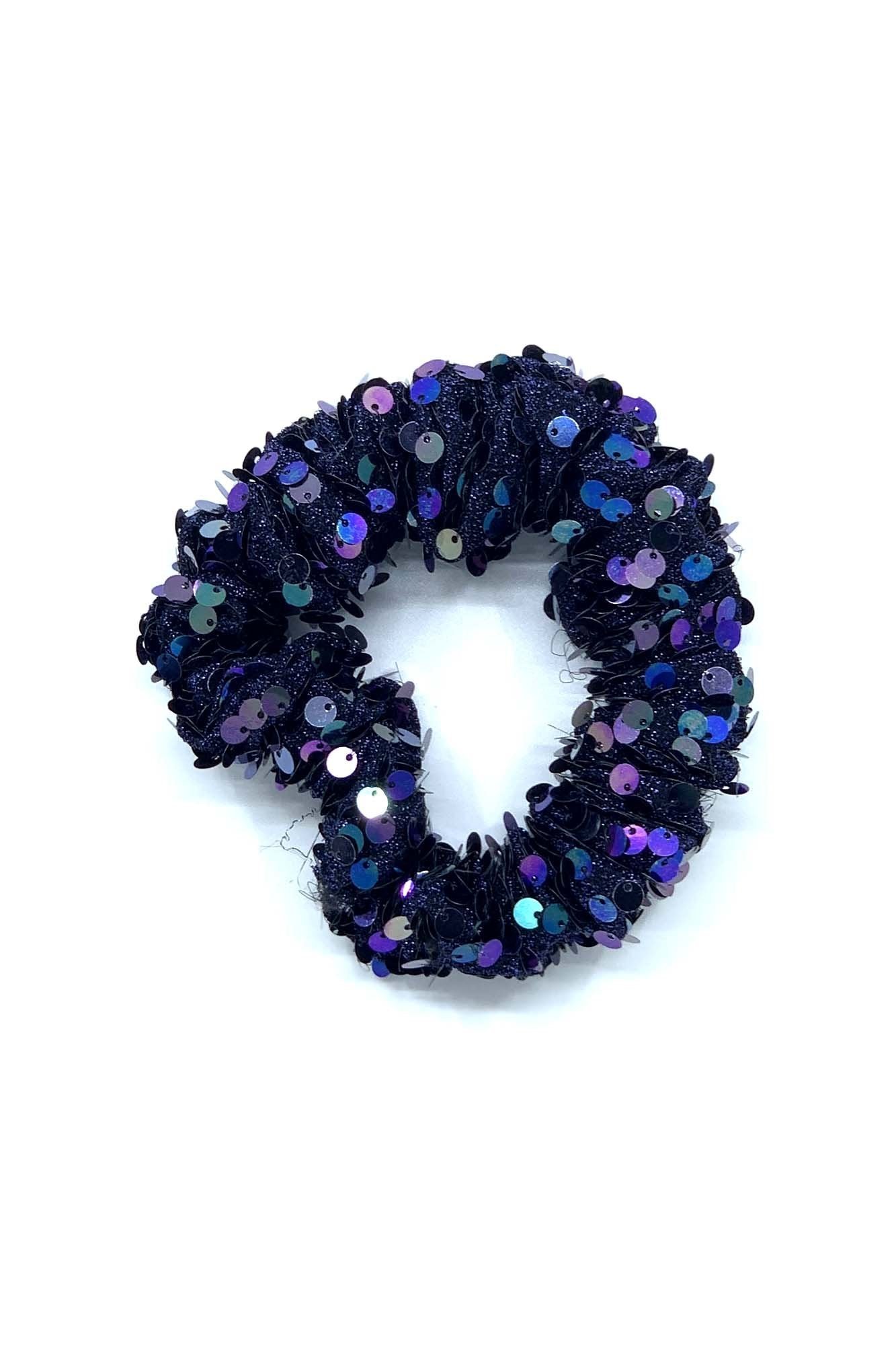 Blue Sequins Scrunchie