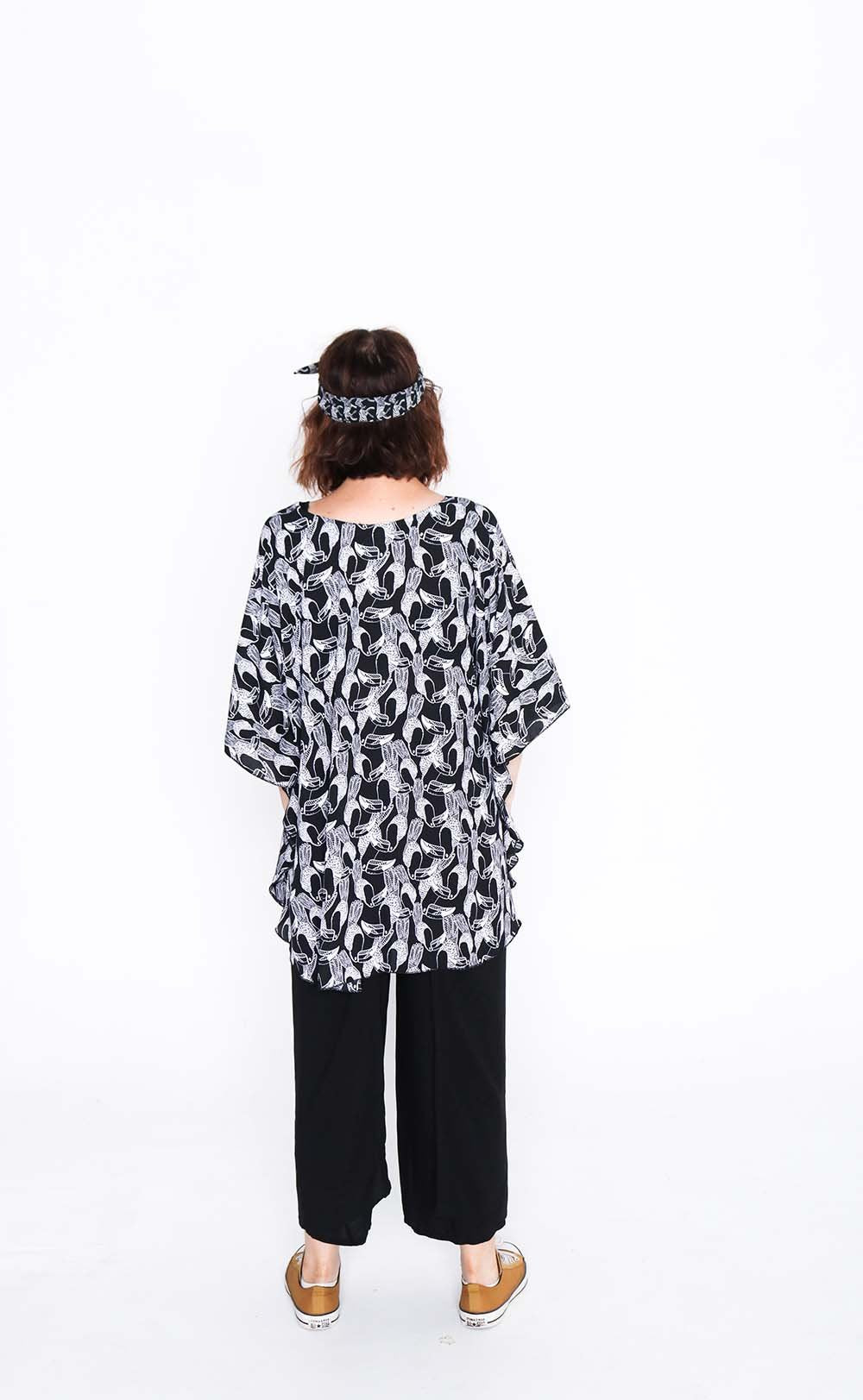 black and white toucan butterfly top back