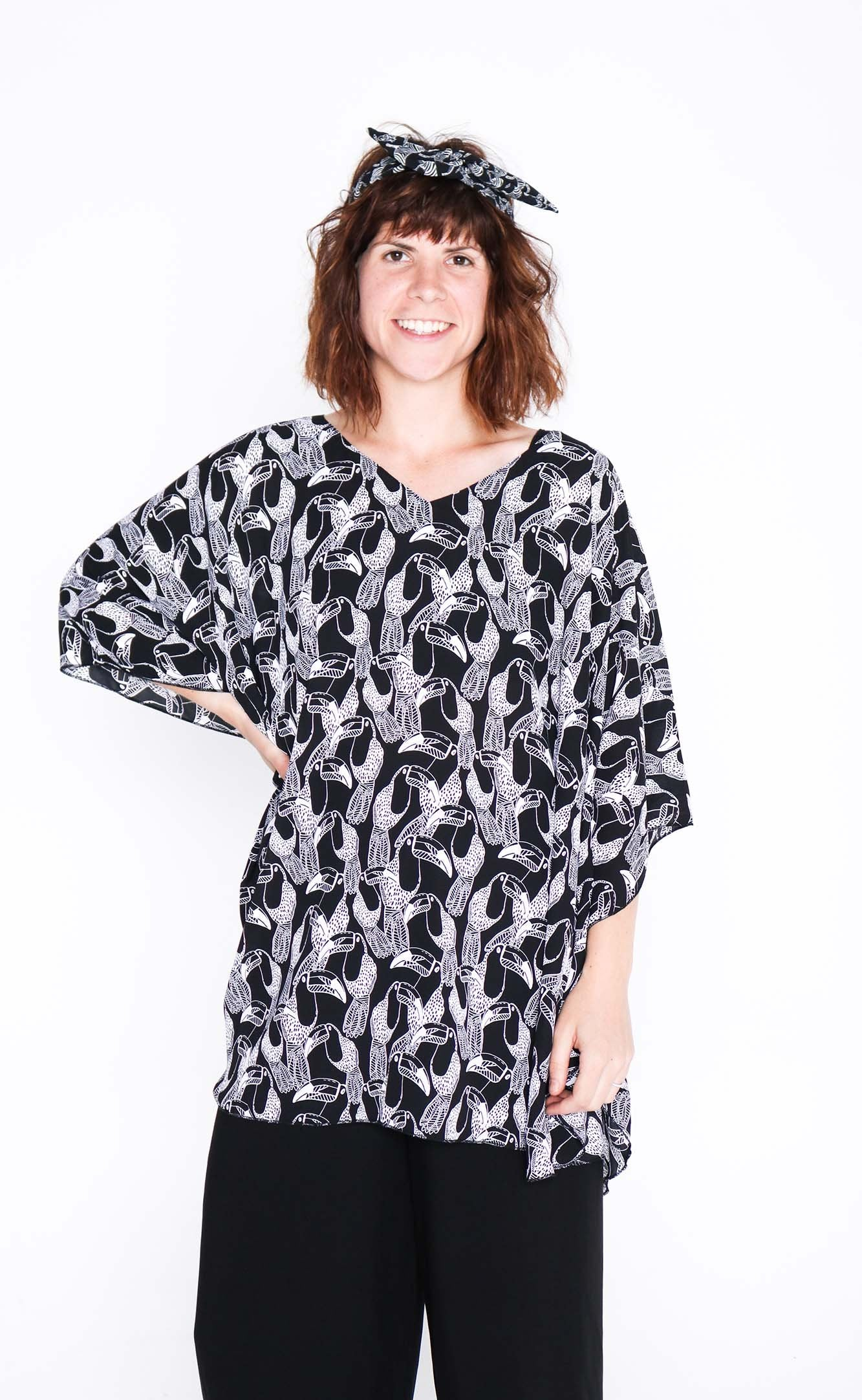 black and white toucan butterfly top front