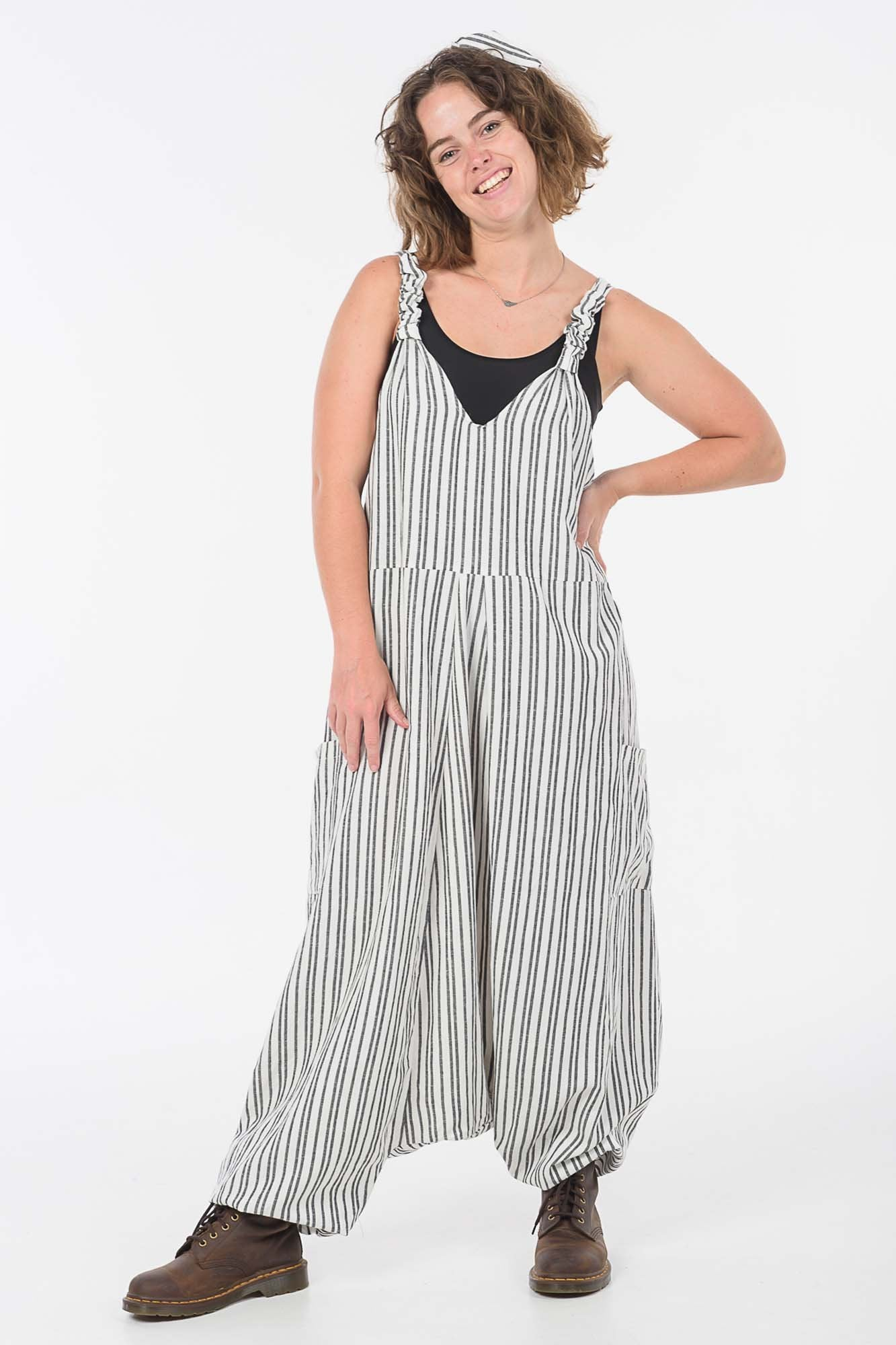 Charcoal Stripes Moggie Overalls