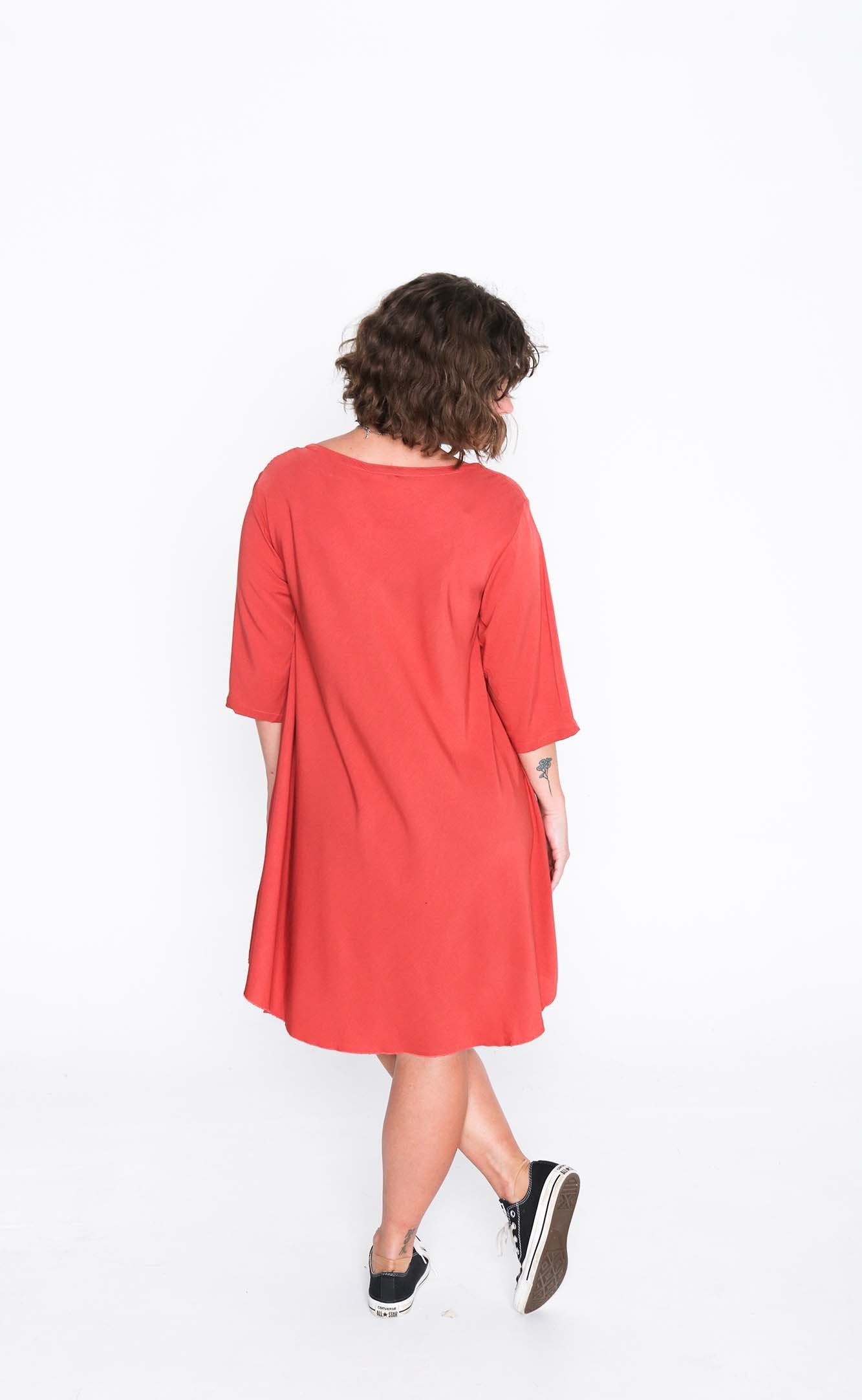 Salmon Cori 3/4 Sleeve Dress- Back