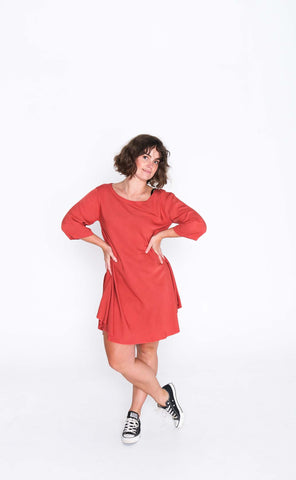 Salmon Cori 3/4 Sleeve Dress - Front