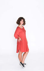 Salmon Cori 3/4 Sleeve Dress - Side