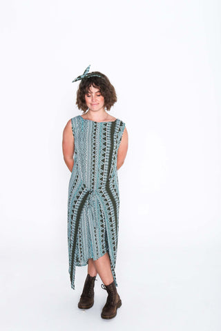 Aqua Aztec Fisher Dress - Front