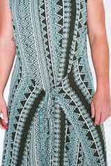 Aqua Aztec Fisher Dress - Close