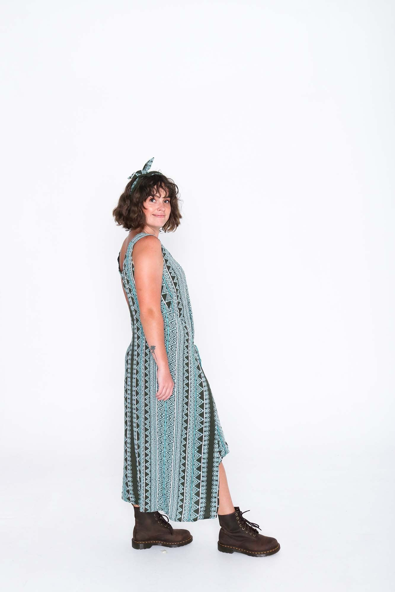 Aqua Aztec Fisher Dress - Side