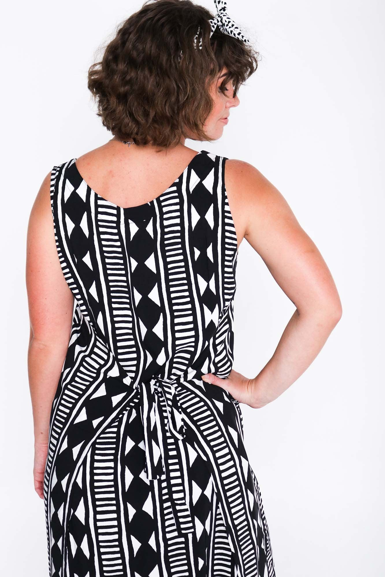 Black and White Aztec Fisher Dress Back Close