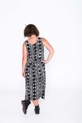 Black and White Aztec Fisher Dress - Back