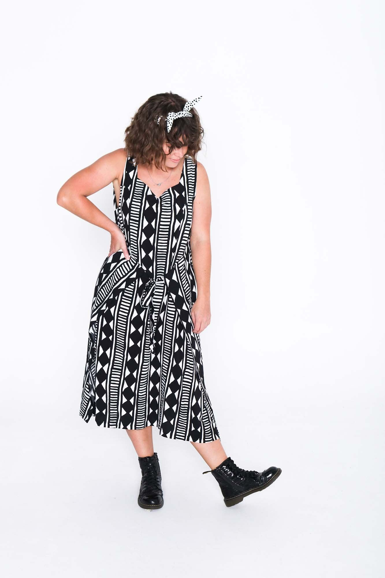 Black and White Aztec Fisher Dress - Front