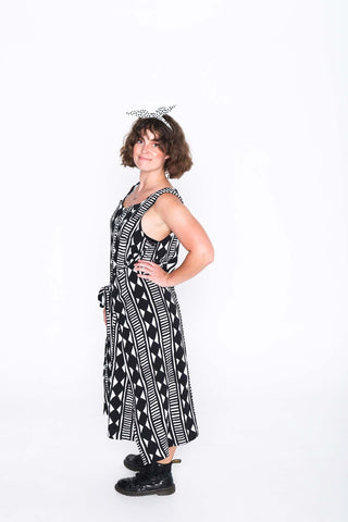 Black and White Aztec Fisher Dress - Side