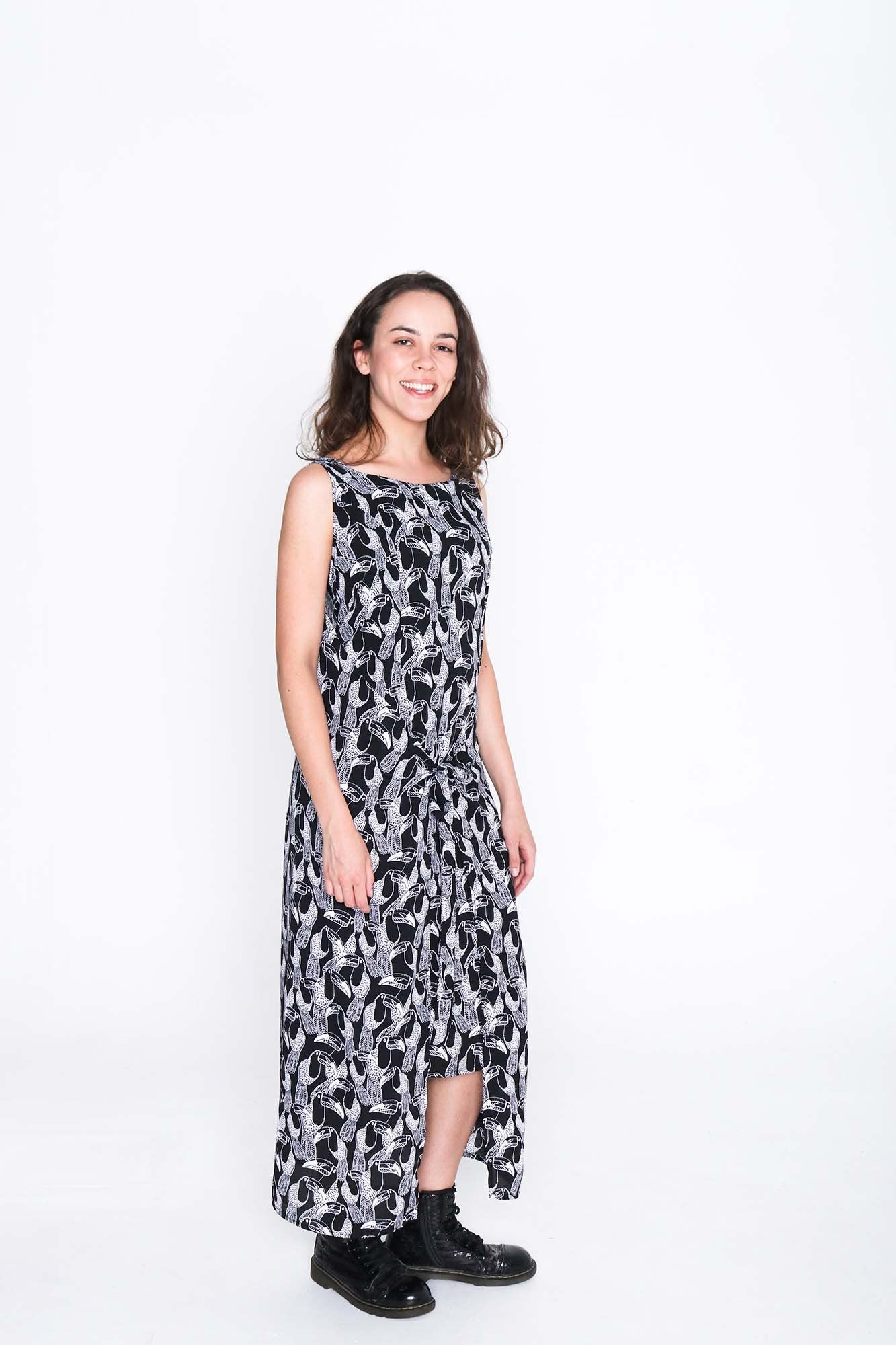 Black and White Toucan Fisher Dress - Side