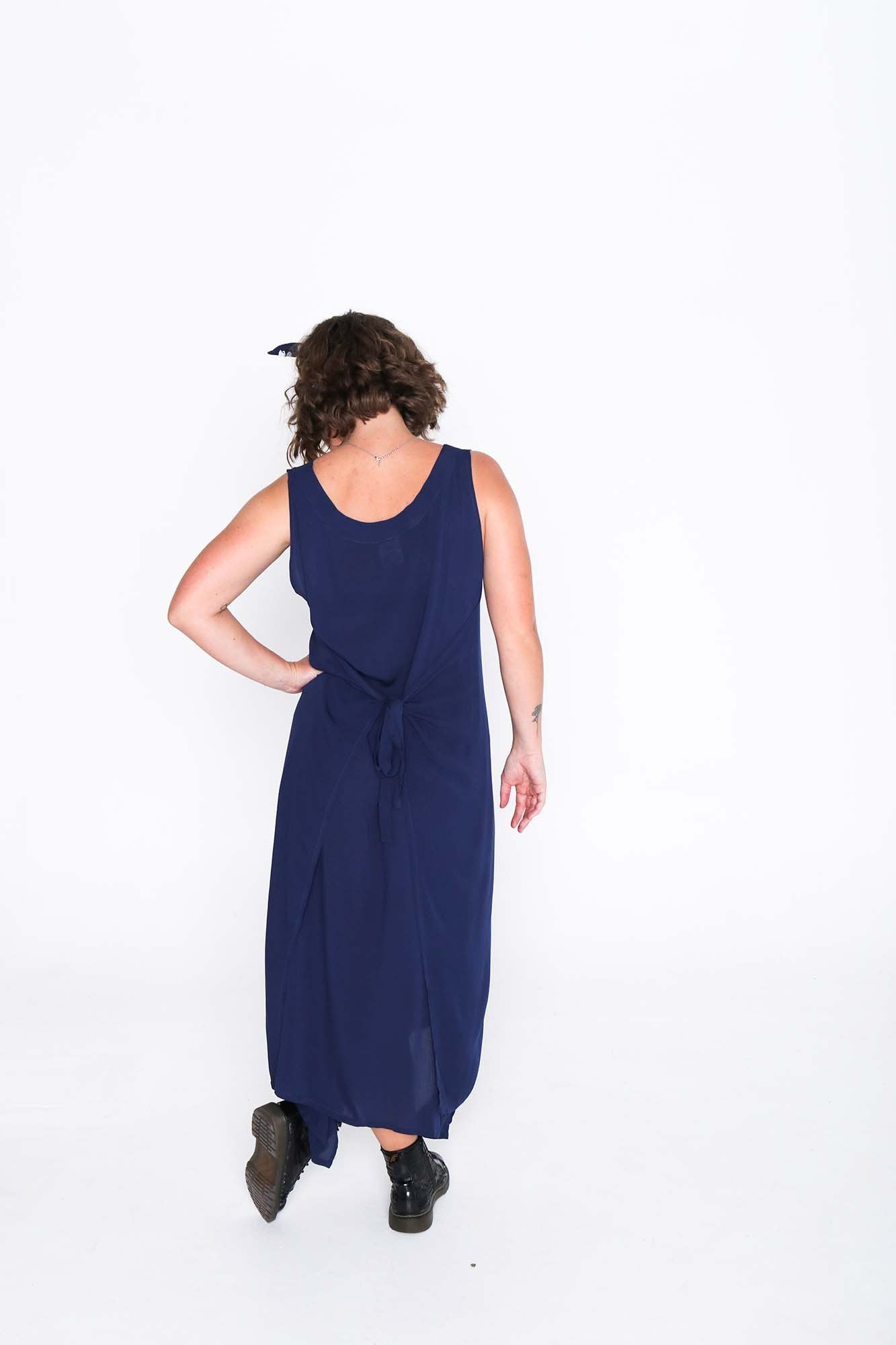 Navy Crinkle Fisher Dress - Back