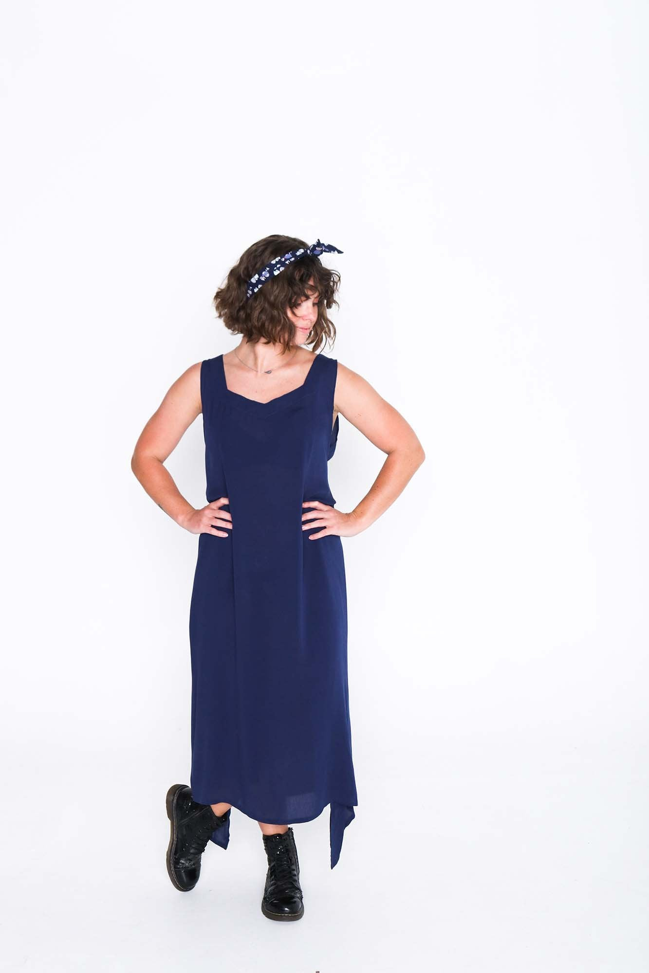 Navy Crinkle Fisher Dress - Front