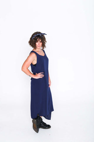 Navy Crinkle Fisher Dress - Side