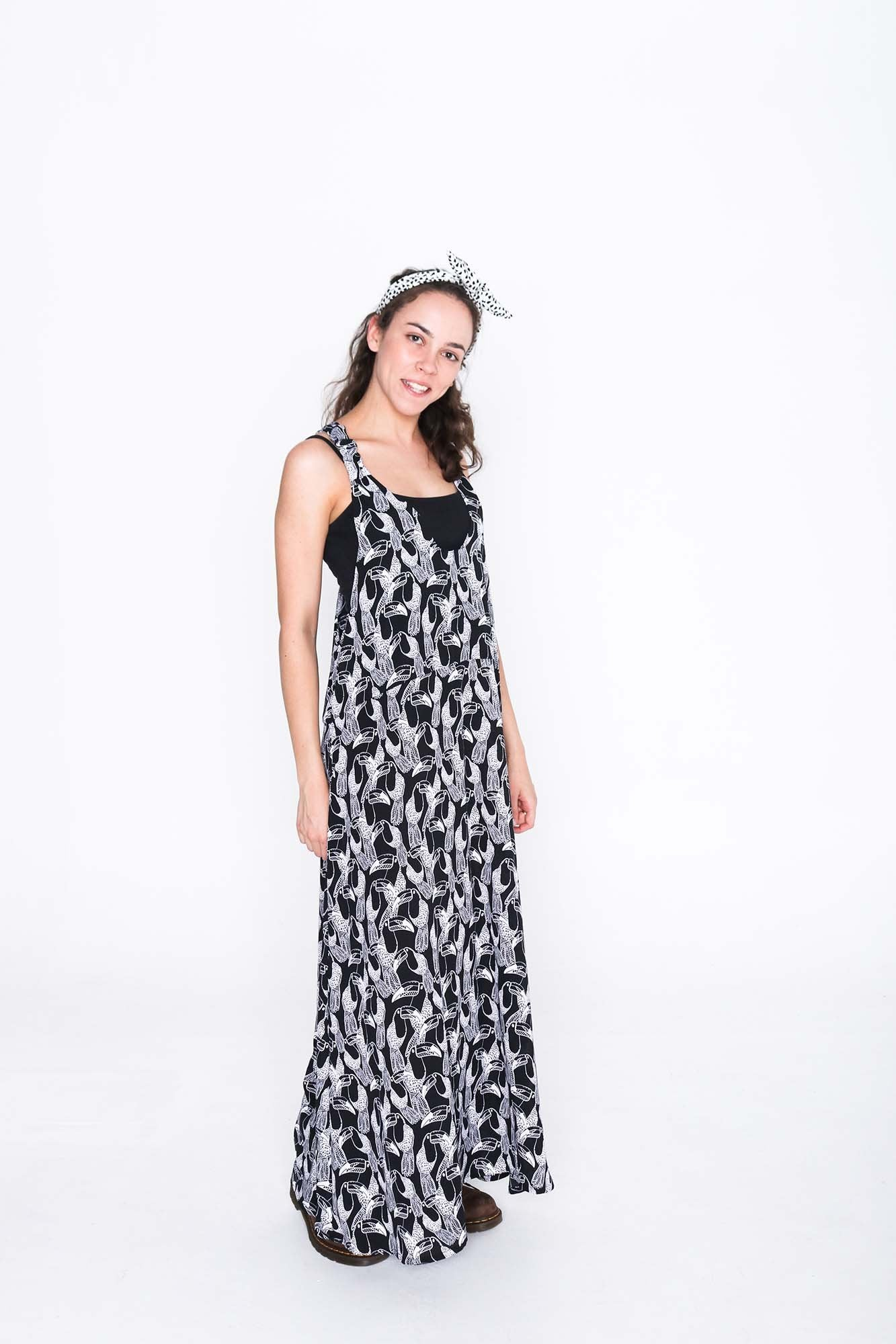 Black and White Toucan Moggie Dress - Side