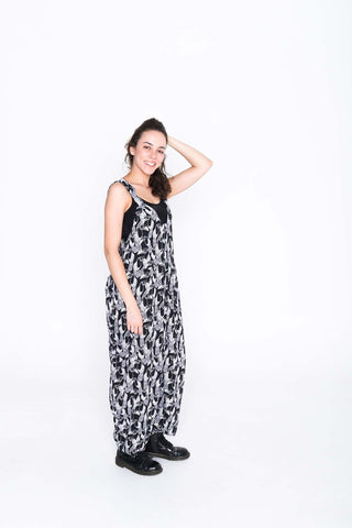 Black and White Toucan Moggie Overalls - Side