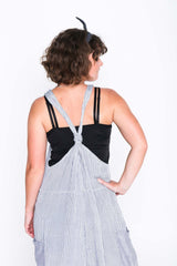 Blue Cotton Stripe Moggie Overalls - Back
