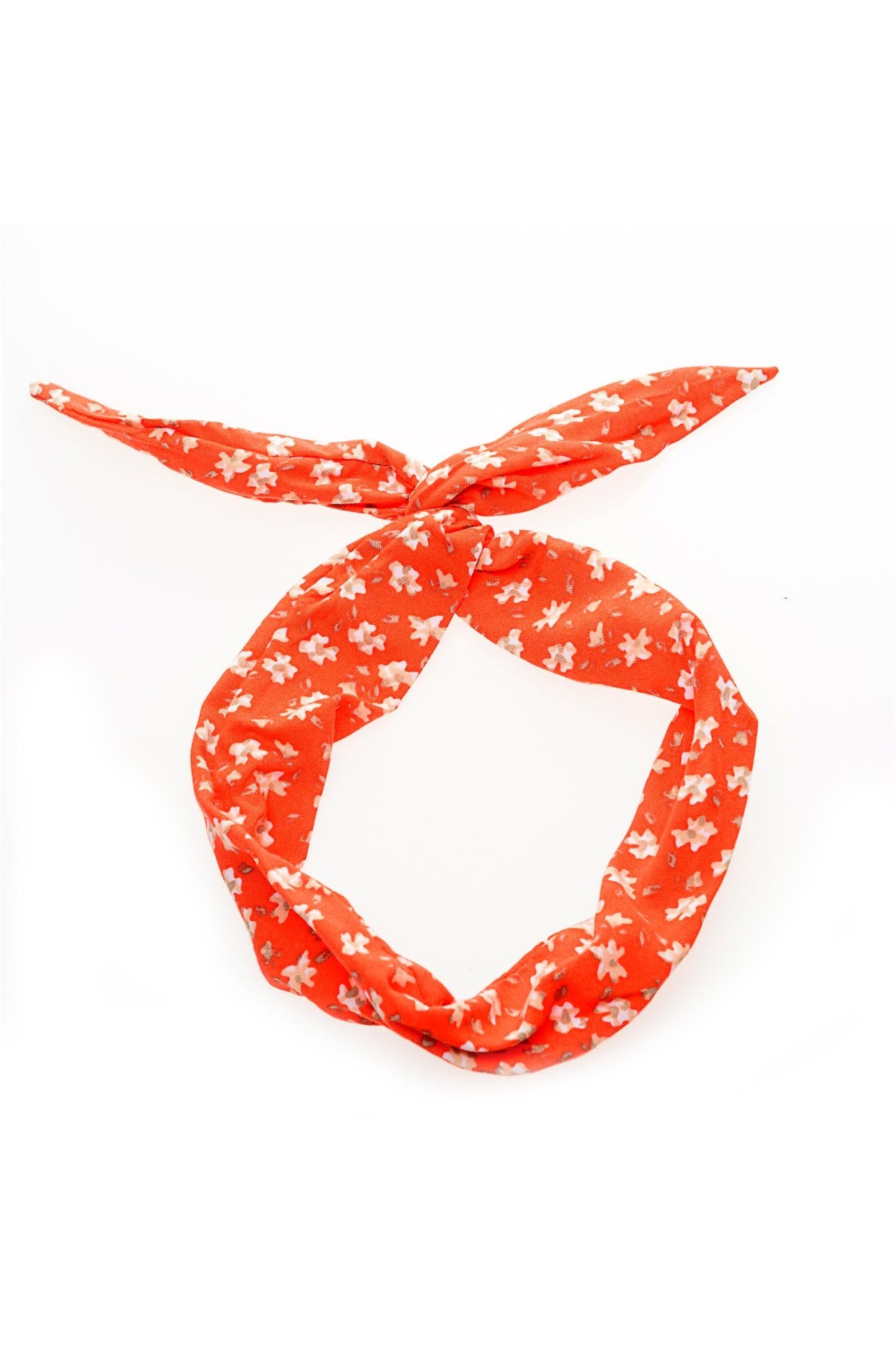 Orange Floral Wire Headband