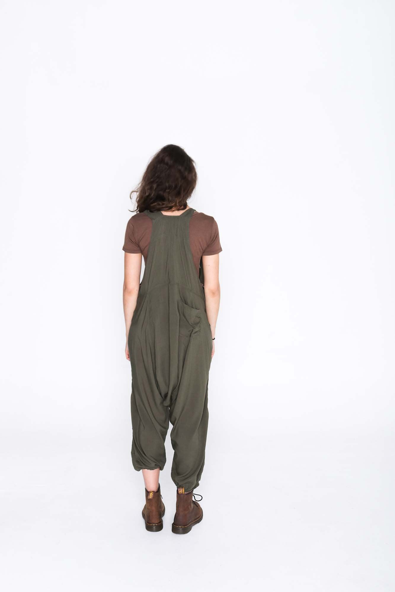 Army Green  Sammy Overalls - Back
