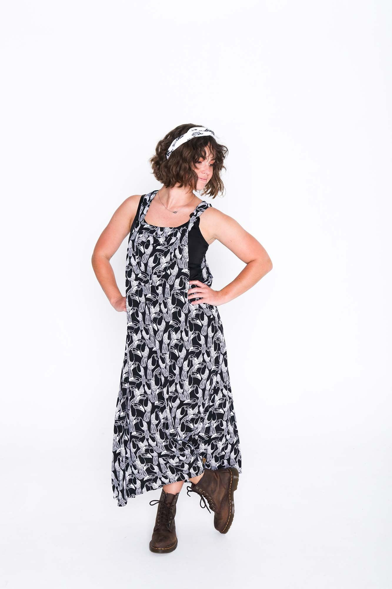 Black and White Toucan Sammy Overall Dress