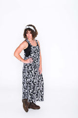 Black and White Toucan Sammy Overall Dress - Side